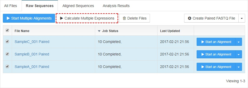 Start Unaligned Expression Analysis